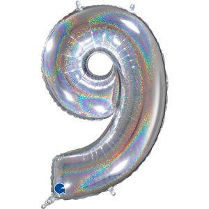 Grand Ballon Argent Paillette Holographic 66cm Chiffre 9