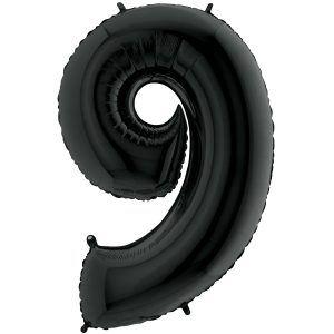 Grand Ballon Noir Black 66cm Chiffre 9