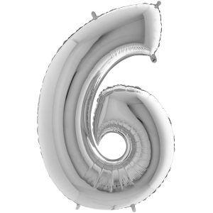 Ballon Grand Argent Silver 66cm Chiffre 6