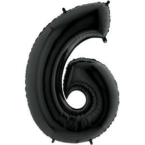 Grand Ballon Noir Black 66cm Chiffre 6