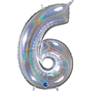 Grand Ballon Argent Paillette Holographic 66cm Chiffre 6