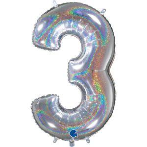 Grand Ballon Argent Paillette Holographic 66cm Chiffre 3