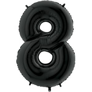 Grand Ballon Noir Black 66cm Chiffre 8