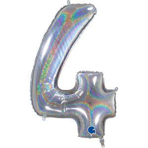 Grand Ballon Argent Paillette Holographic 66cm Chiffre 4