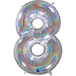 Grand Ballon Argent Paillette Holographic 66cm Chiffre 8