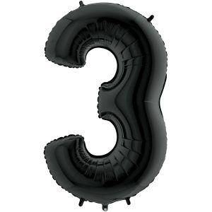 Grand Ballon Noir Black 66cm Chiffre 3