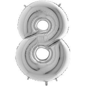 Ballon Grand Argent Silver 66cm Chiffre 8