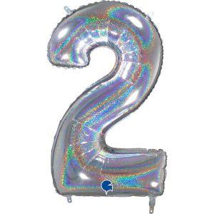 Grand Ballon Argent Paillette Holographic 66cm Chiffre 2