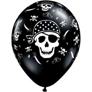 Pirate Skull & Cross Bones Onyx Black 6 Ballons 11″ Qualatex
