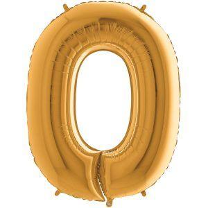 Grand Ballon Or Gold 66cm Chiffre 0