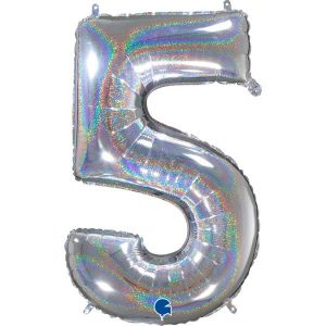 Grand Ballon Argent Paillette Holographic 66cm Chiffre 5